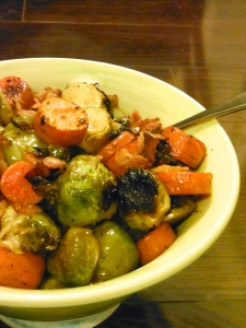 Maple Bacon Brussels Sprouts and Carrots