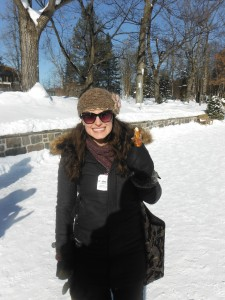 Enjoying a pure maple syrup lollipop at the Ice Hotel in Quebec City. The temperature that day was -25C with the windchill!