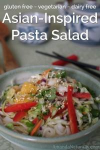 Asian Inspired Pasta Salad | gluten free, vegetarian | AmandaNaturally.com
