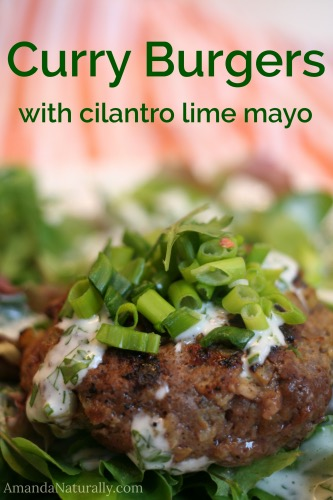 Curry Burgers with Cilantro Lime Mayo | AmandaNaturally.com